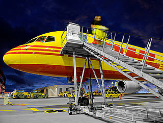 Airport ground equipment - boarding steps in Leipzig