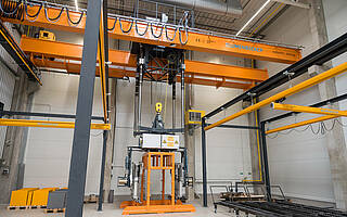 Special gripper at crane system for customer Kunstmann